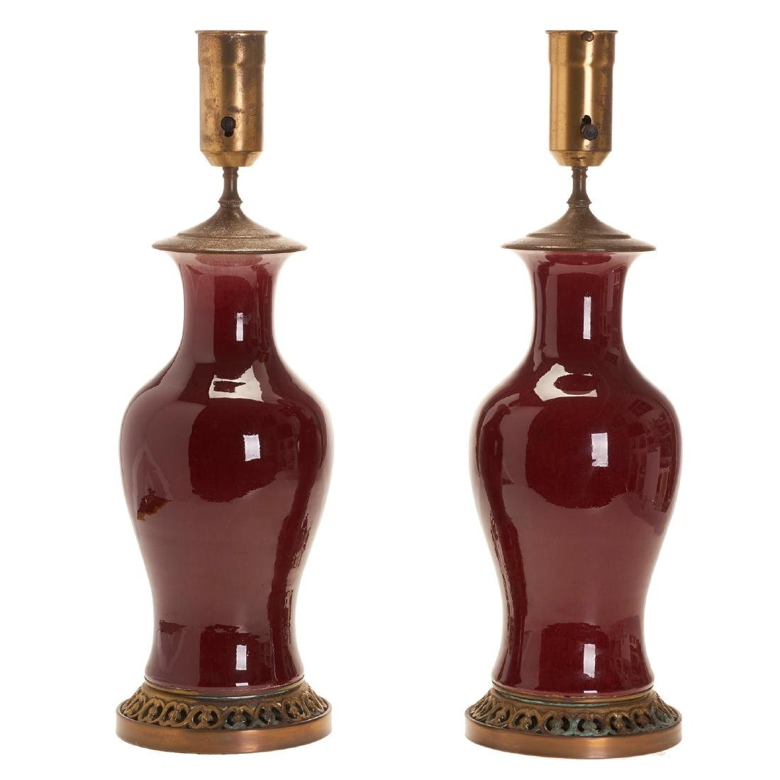 Pair large Chinese oxblood porcelain vases