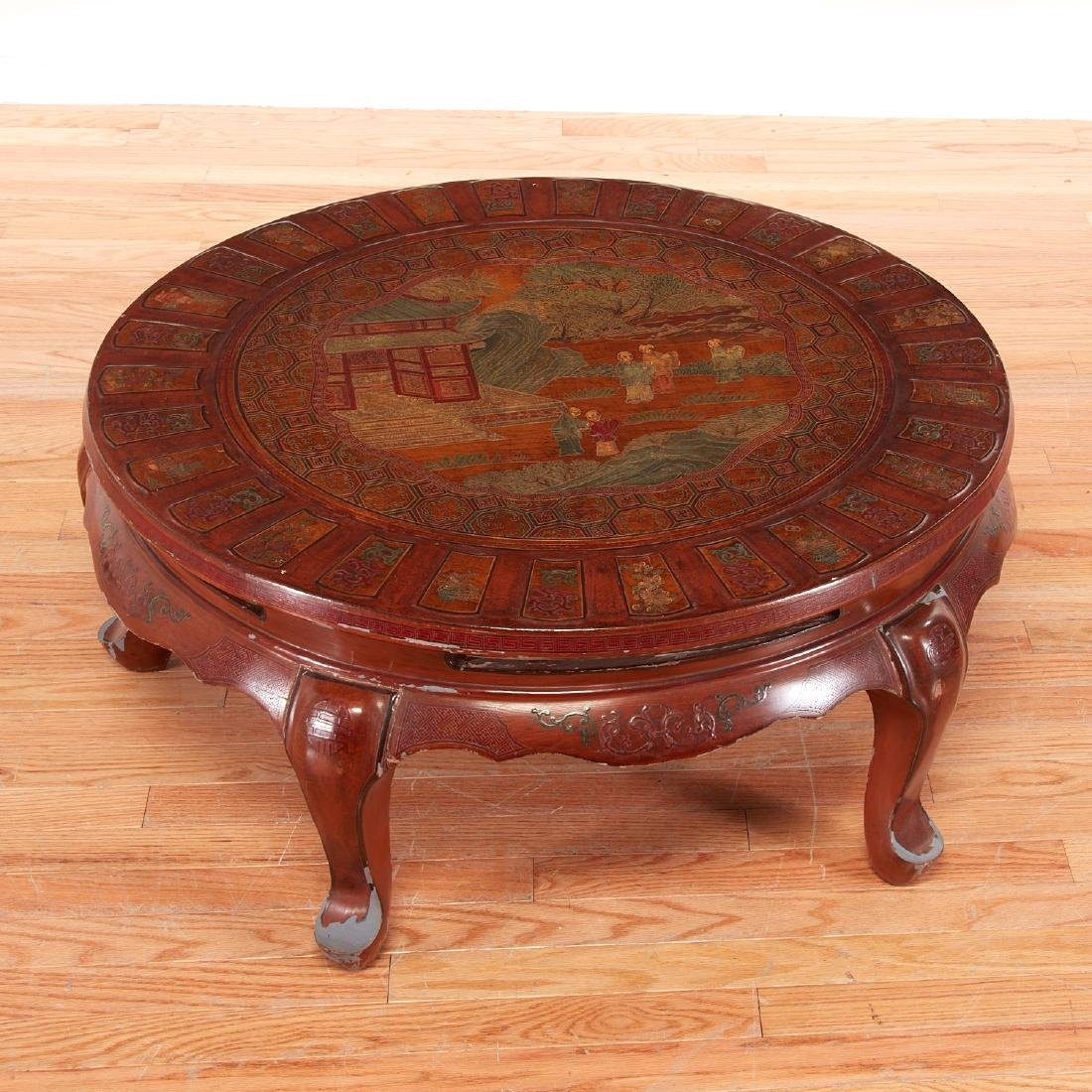 Chinese carved lacquer round low table