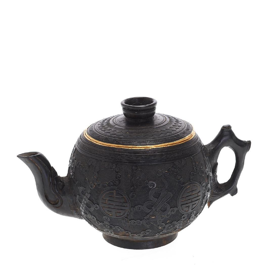 Chinese coconut shell and cinnabar lacquer teapot