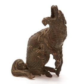 Antique Chinese bronze model of a Qilin