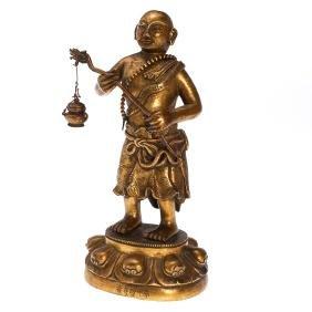 Sino-Tibetan gilt bronze Buddhist monk