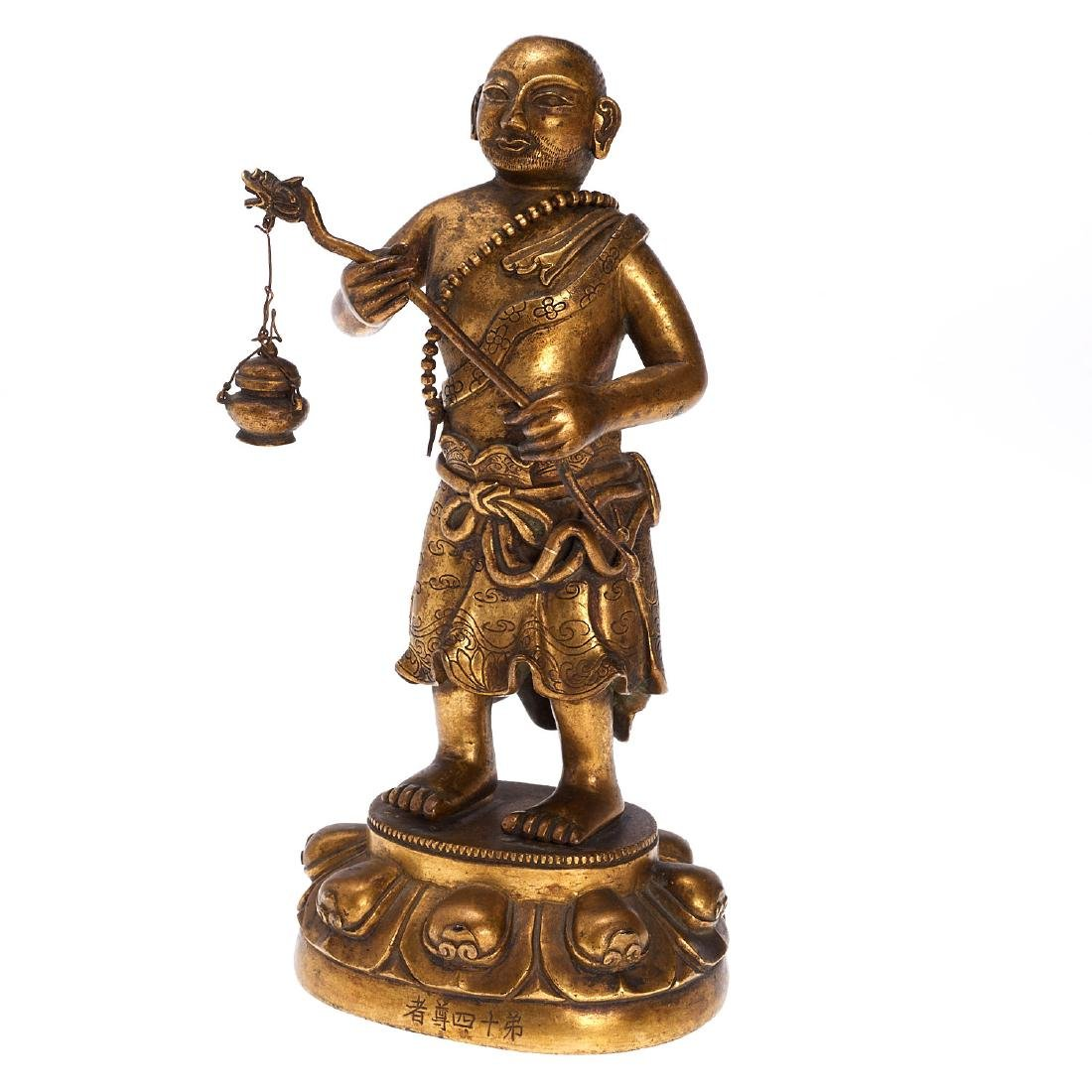 Sino-Tibetan gilt bronze Buddhist monk
