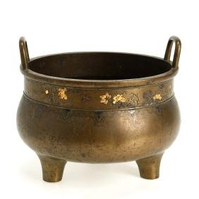 Antique Asian inlaid bronze tripod censer