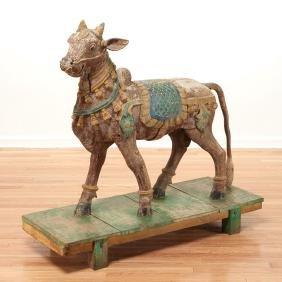 North Indian carved wood model of Nandi