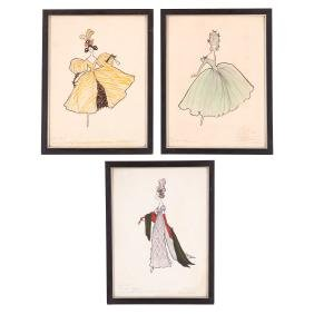 R.W. Little, (3) fashion sketches
