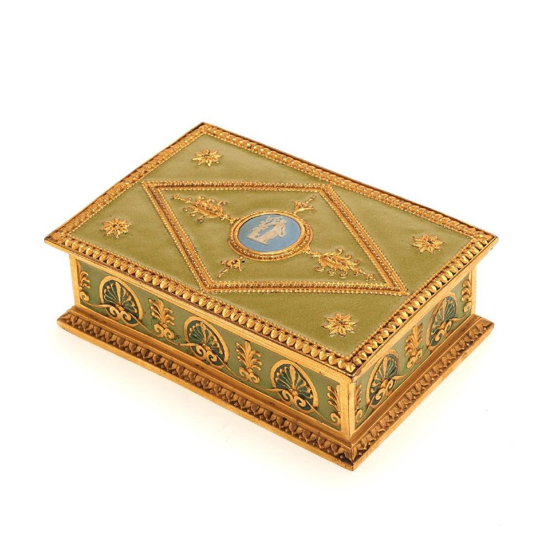 E.F. Caldwell enamel and gilt bronze box