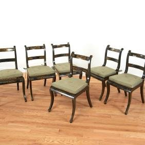 Set (6) black painted Regency dining chairs
