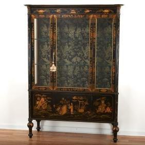 Edwardian black japanned curio cabinet