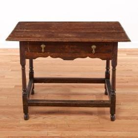 William & Mary oak and walnut tavern table