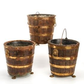 (3) antique English brass bound peat buckets