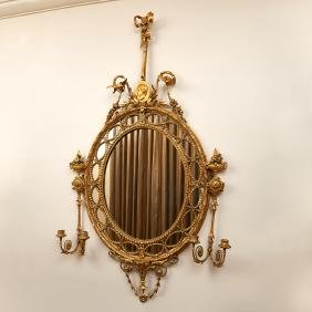 George III style gilt composition girandole mirror