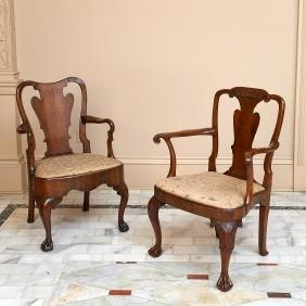 (2) George II mahogany and walnut armchairs