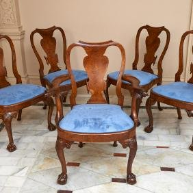 Set (8) George II carved walnut dining chairs