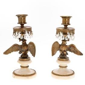 Pair Regency bronze, marble Eagle candlesticks