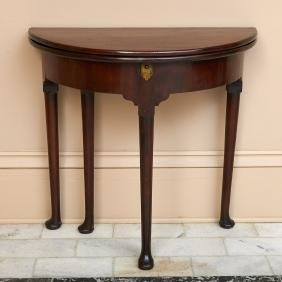 George II mahogany demi-lune tea table