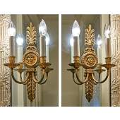 Pair Regency style gilt bronze wall sconces