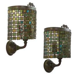 Pair Tiffany Studios (attrib.) bronze wall sconces