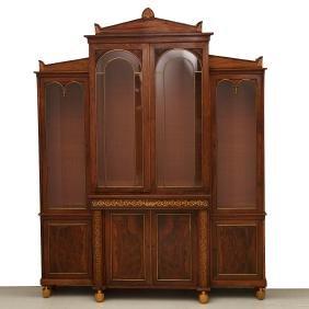 Nice Regency brass inlaid bookcase cabinet