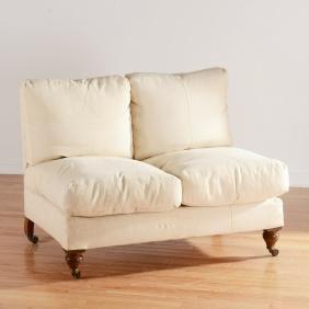 Howard & Sons linen upholstered armless settee