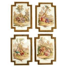 Set (4) bronze-framed porcelain plaques