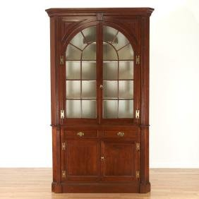 American Chippendale walnut corner cupboard