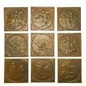 Set (9) Minton Majolica glazed sporting tiles