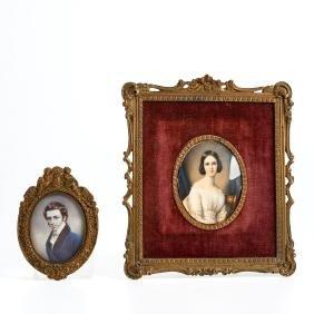 European School, (2) paintings