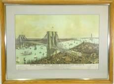 Currier & Ives, Brooklyn Bridge color engraving