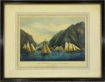 Currier  Ives lithograph Hudson River ships
