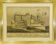 Currier & Ives, NY steamboat lithograph