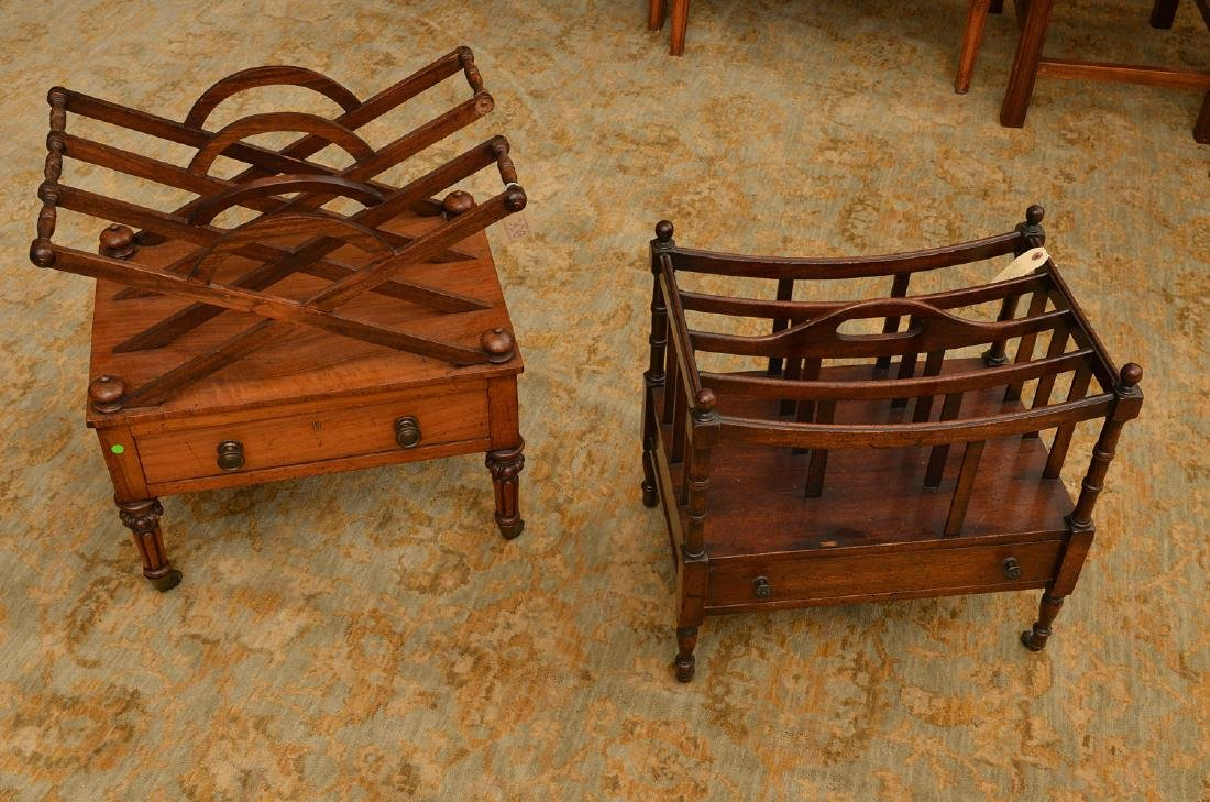 (2) English Regency mahogany canterburies