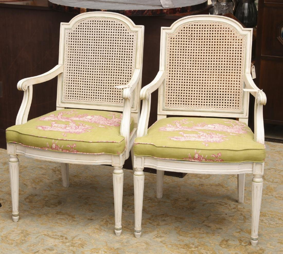 Pair decorator Louis XVI painted armchairs