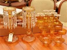 Bohemian amber glass pair lusters and stemware set