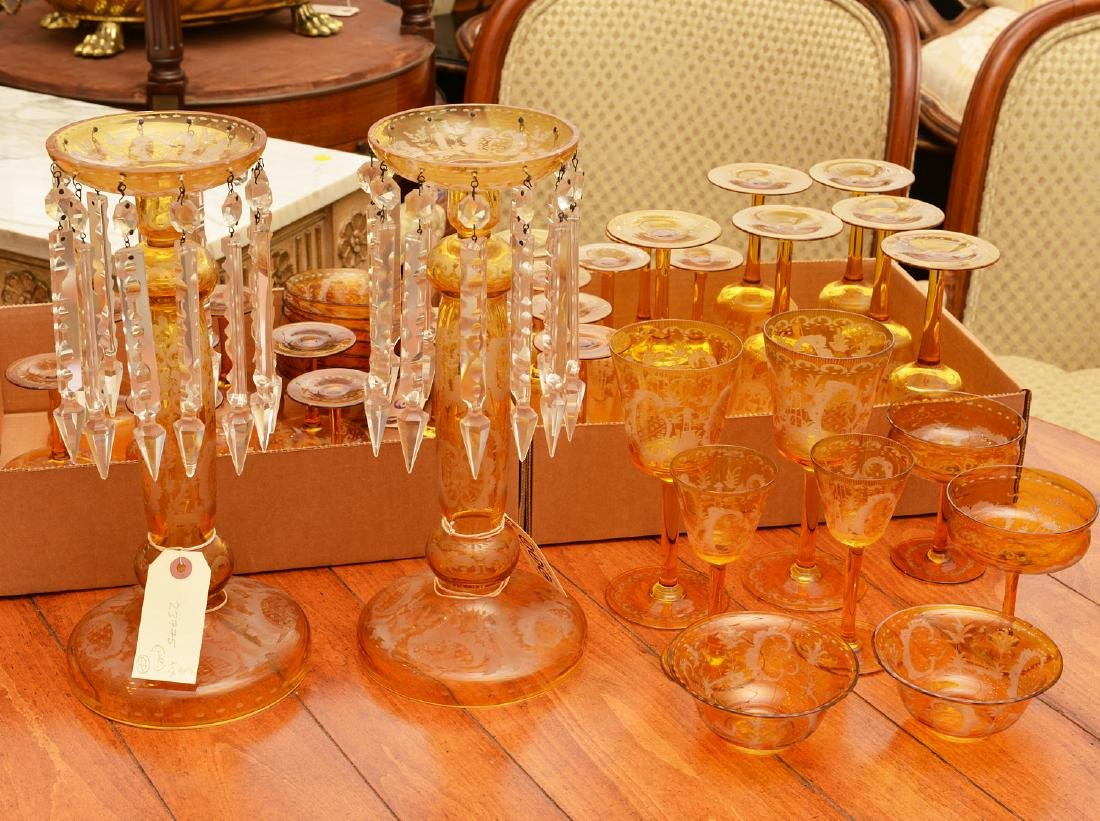 Bohemian amber glass pair lusters and stemware set