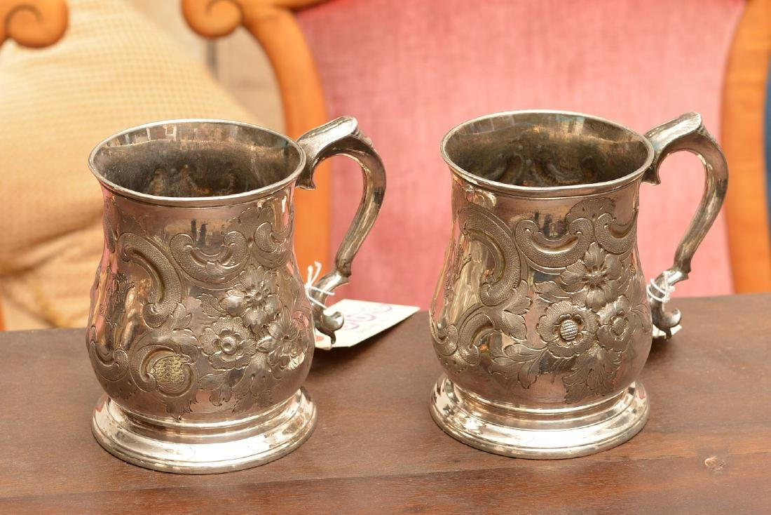 Pair Boston style Britannia metal mugs