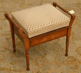 Edwardian Marquetry Adjustable Piano Bench