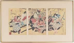Japanese School woodblock triptych