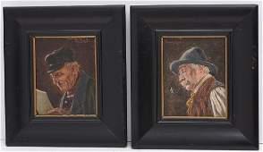 Oscar Schmitt 2 small portrait paintings