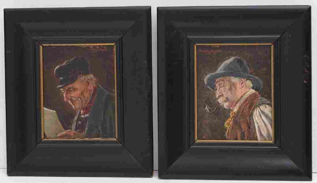 Oscar Schmitt, (2) small portrait paintings
