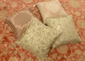 (4) Nancy Corzine And Designer Throw Pillows