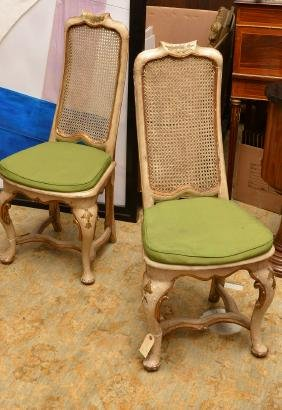 Pair Venetian Rococo Style Painted Side Chairs