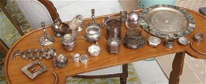 Group silver plate and metalware items