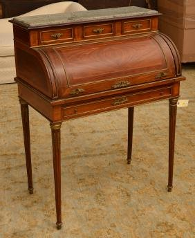 Louis Xvi Style Mahogany Cylinder Ladies Desk