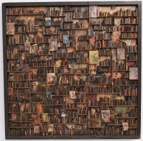 Signed Illegibly, Bibliophile Collage Wall Hanging