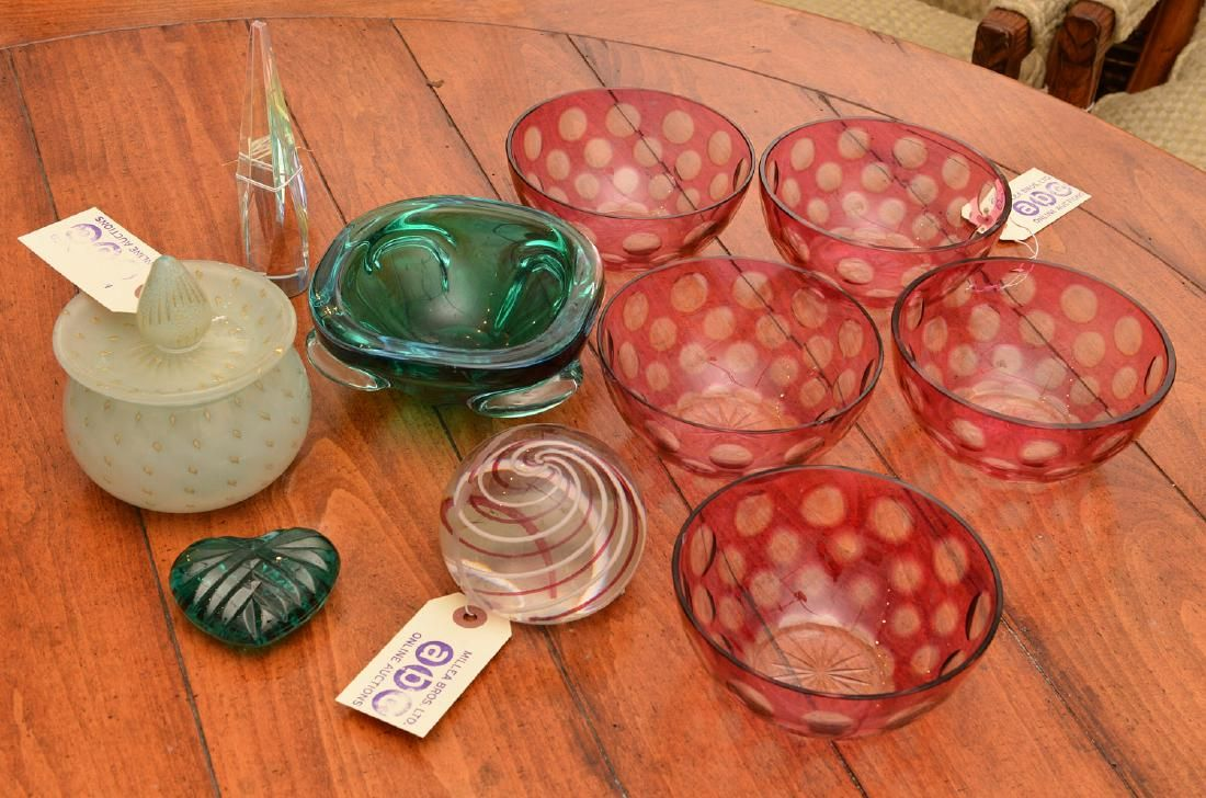 Group Modernist and Venetian glass objects
