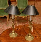 Pair Louis XVI style bronze candlestick lamps