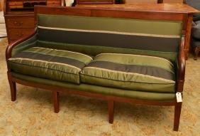 Consulat Silk Upholstered Mahogany Sofa