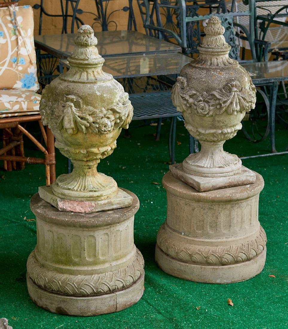 Pair Neo-Classical style cast stone urns/pedestals