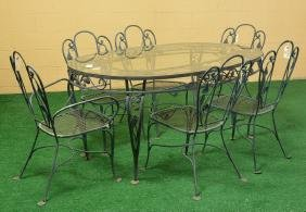 Wrought Iron Fruit And Foliate Patio Dining Set