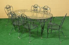 Wrought Iron Peach And Foliate Patio Dining Set